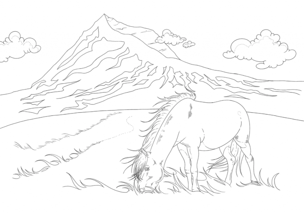 Icelandic horse colouring page free printable download
