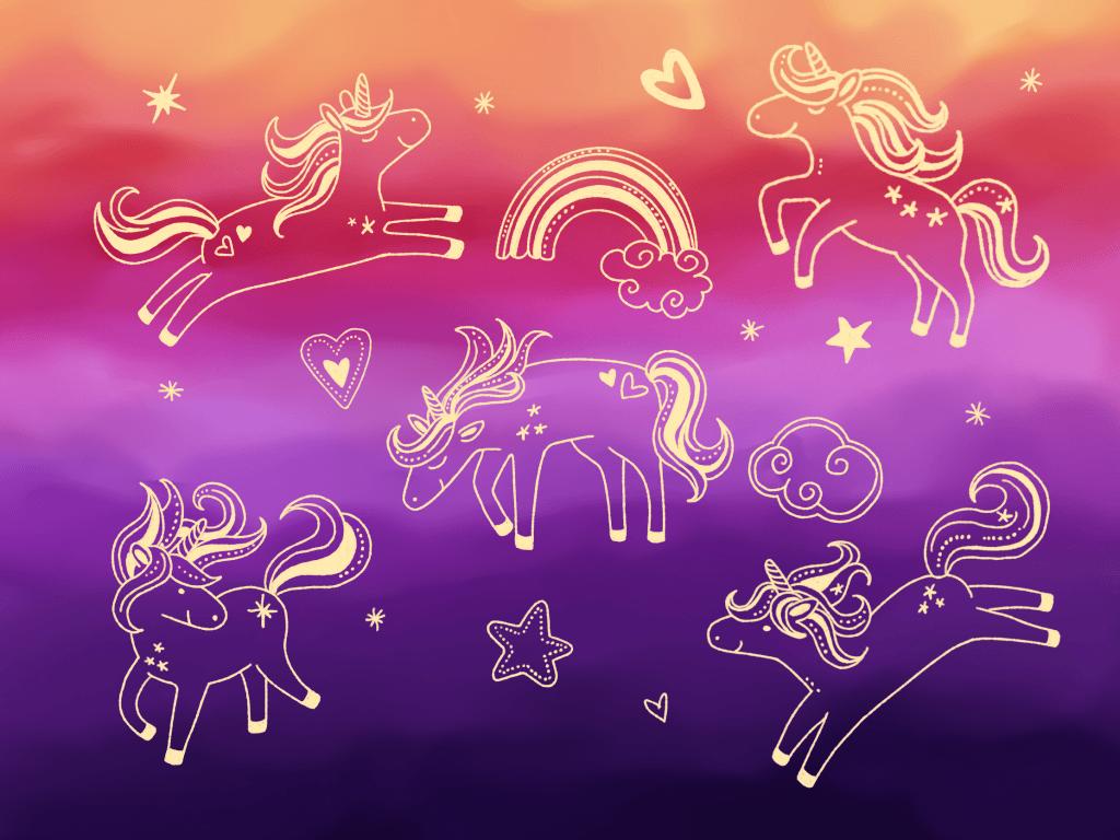 Sunset unicorn doodles