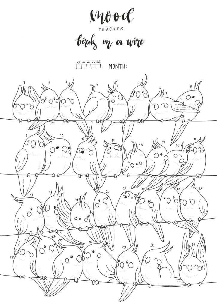 Birds On A Wire Mood Tracker Printable