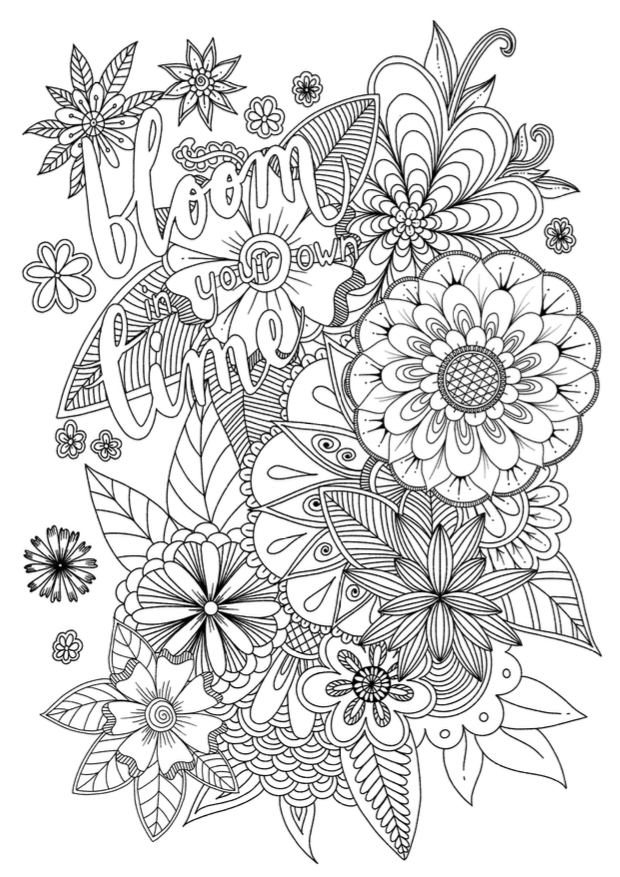 Free Printable Coloring Page With Flowers