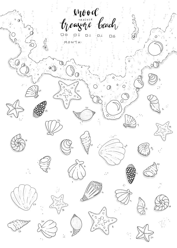 Treasure Beach free printable moodtracker